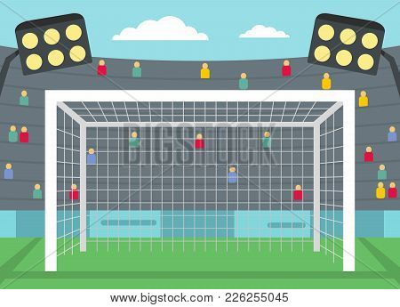 Football Gate Icon. Flat Illustration Of Football Gate Vector Icon For Web