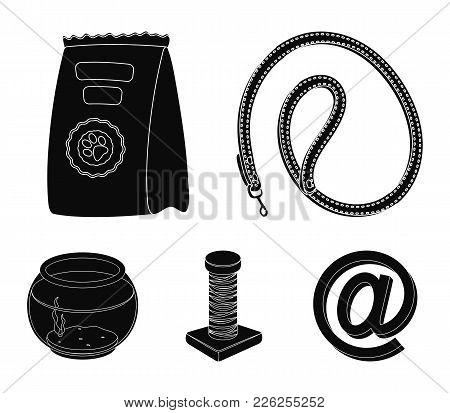 Leash, Feed And Other Zoo Store Products.pet Shop Set Collection Icons In Black Style Vector Symbol