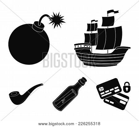 Pirate, Bandit, Ship, Sail .pirates Set Collection Icons In Black Style Vector Symbol Stock Illustra