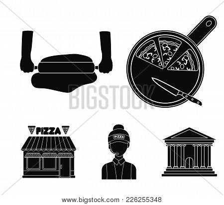 Pizza On A Cutting Board, A Seller, A Pizzeria, A Rolling Test. Pizza And Pizzeria Set Collection Ic