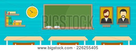 Classroom Banner. Flat Illustration Of Classroom Vector Banner For Web