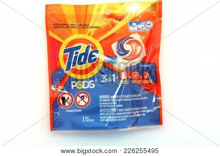 2/11/2018 Lake Forest, CA. Tide Pod Free Sample Package isolated on white.  Tide Pods are used for washing laundry. The Tide Pod challenge is dangerous.