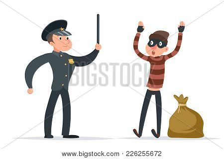 Caught Thief Surrender Policeman Loot Character Cartoon Design Vector Illustration