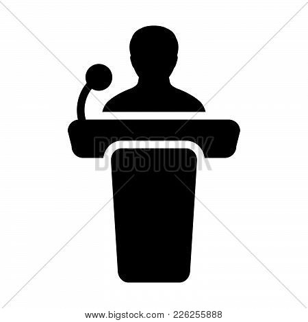 Public Speaking Icon Vector Male Person On Podium For Presentation And Seminar For People With Micro