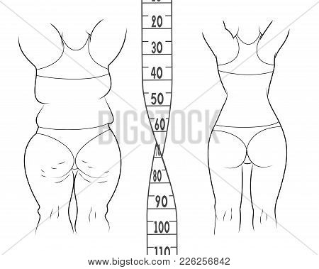 The Result Before And After A Diet. Fat And Slim Woman. Measuring Tape Vector Illustration.