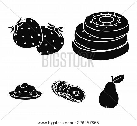 Fruits And Other Food. Food Set Collection Icons In Black Style Vector Symbol Stock Illustration .