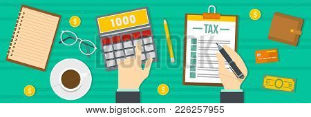 Tax Calculator Banner. Flat Illustration Of Tax Calculator Vector Banner For Web