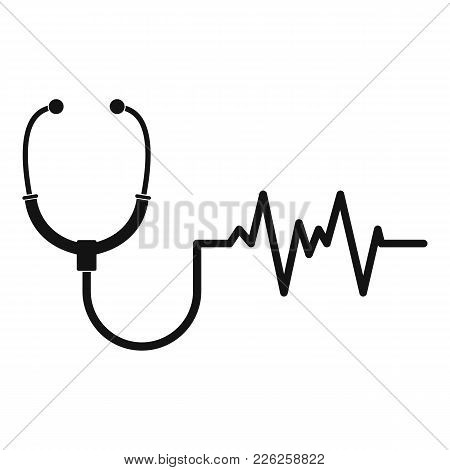 Stethoscope Icon. Simple Illustration Of Stethoscope Vector Icon For Web