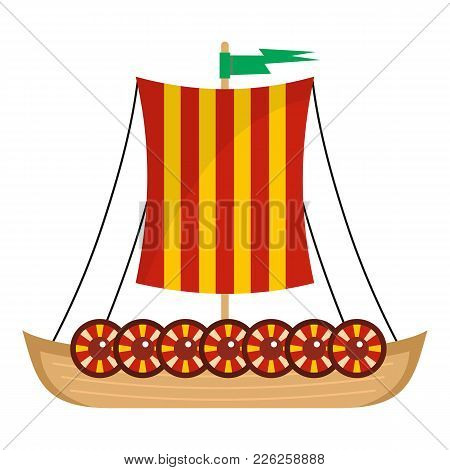 Viking Ship Icon. Flat Illustration Of Viking Ship Vector Icon For Web