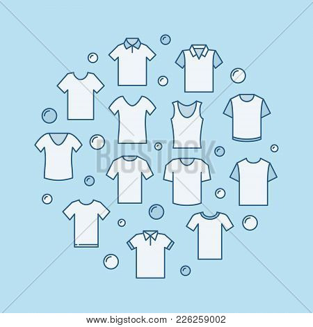 T-shirt Modern Round Vector Illustration Made With Shirts Icons On Blue Background
