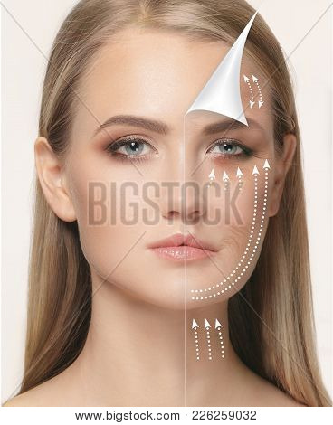 The young female face. Antiaging and thread lifting concept. The portrait of beautiful woman with problem and clean skin, aging and youth concept, beauty treatment and lifting. Before and after concept poster