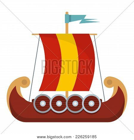 Pirate Ship Icon. Flat Illustration Of Pirate Ship Vector Icon For Web