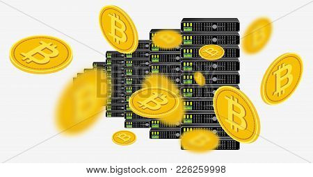 Bitcoin Cryptocurrency Computer Farm, Bitcoin Mining Center, Vector Illustration. Isometric Gold Bit