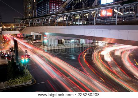 Bangkok,thailand-november 21:the Light Long Exposure Of Car On The Road With Traffic Jam At Night In
