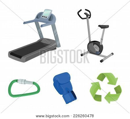 Exercise Bike, Treadmill, Glove Boxer, Lock. Sport Set Collection Icons In Cartoon Style Vector Symb