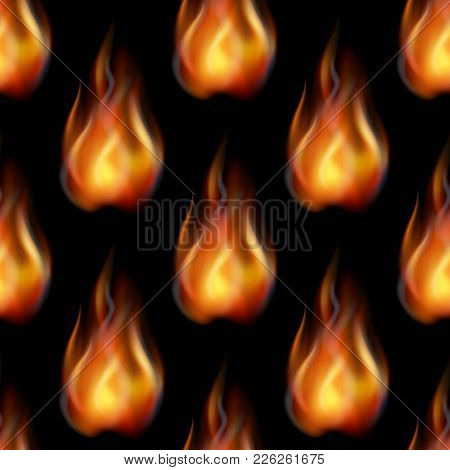 Fire Seamless Background, Tile Pattern, Blazing Orange And Yellow Flames. Eps10, Contains Transparen