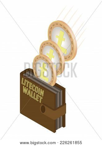 Transfer Of Coins Of Litecoin  And Their Transfer To The Wallet  On A White Background