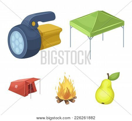Awning, Fire And Other Tourist Equipment.tent Set Collection Icons In Cartoon Style Vector Symbol St