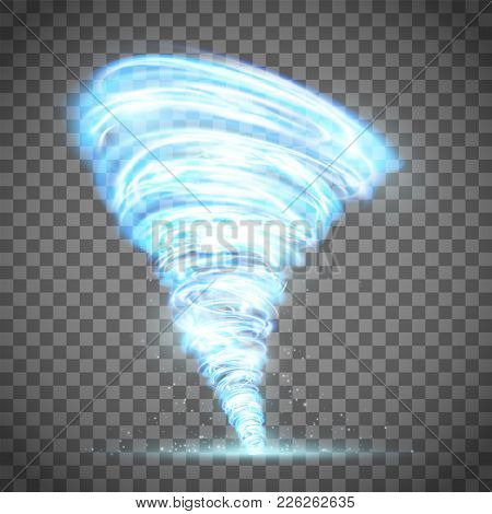Glowing Tornado With Lightning. Rotating Twister. Isolated On A Transparent Background. Stock Vector