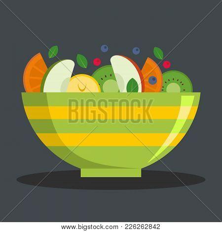 Vegetarian Salad Icon. Flat Illustration Of Vegetarian Salad Vector Icon For Web