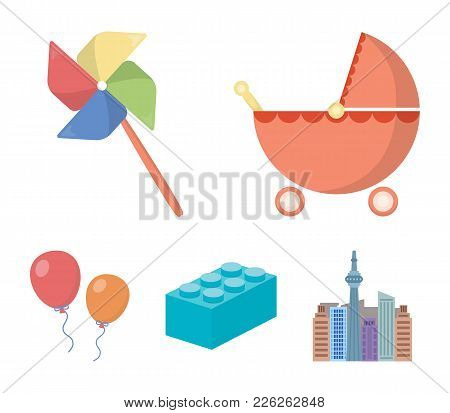 Stroller, Windmill, Lego, Balloons.toys Set Collection Icons In Cartoon Style Vector Symbol Stock Il