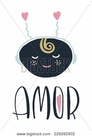 Card With Portugal Lettering Amor. Vector Illustration With Character In Scandinavian Style. Isolate