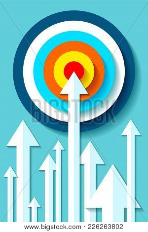 Volume Target Icon In Flat Style On Color Background. White Arrows In The Center Aim. Vector Design