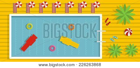 Pool Banner. Flat Illustration Of Pool Vector Banner For Web