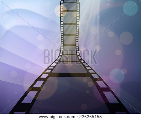 Filmstrip Roll On The Abstract Background. Vector Illustration. Cinema And Movie Element Or Object.