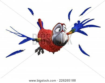 3d Rendering Of Cartoon Parrot Flying And Looking Afraid Like Its Fleeing Something. Feathers In The