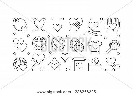 Charity And Philanthropy Vector Concept Horizontal Banner Or Illustration In Thin Line Style