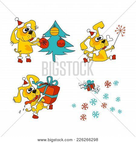 Cool Yellow Dog Mascot. Cartoon Set. Funny Winter Xmas Animal In Santa Hat With Gift Box. Christmas