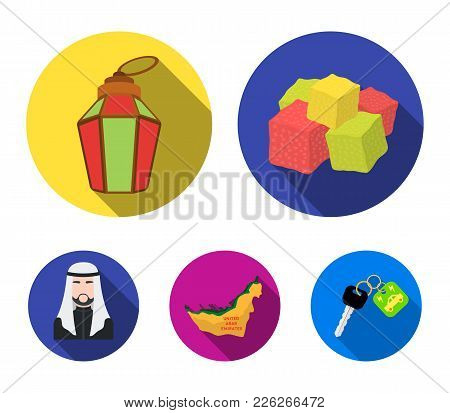 Eastern Sweets, Ramadan Lamp, Arab Sheikh, Territory.arab Emirates Set Collection Icons In Flat Styl