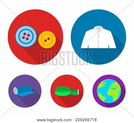 Men's Shirt, Buttons, Centimeter, A Roll Of Fabric.atelier Set Collection Icons In Flat Style Vector