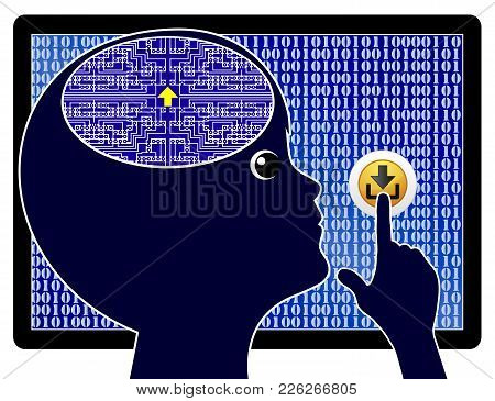 Digital Child Updates His Brain. Futuristic Vision Of A Computer Kid Who Downloads The Required Know