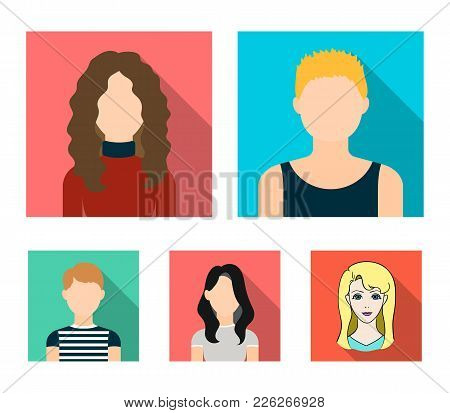 A Dark Girl, A Redheaded Boy, A Curly-haired Woman. A Teenage Blond.avatar Set Collection Icons In F