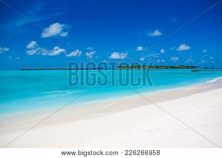 The Beautiful Landscape Of The Deserted Indian Ocean Sandy Beach, Maldives