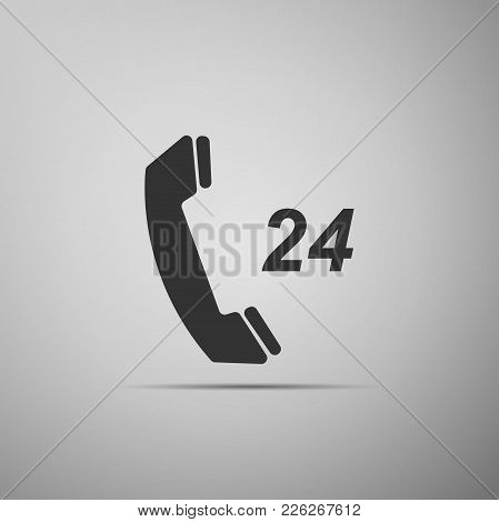 Telephone 24 Hours Support Icon Isolated On Grey Background. All-day Customer Support Call-center. F