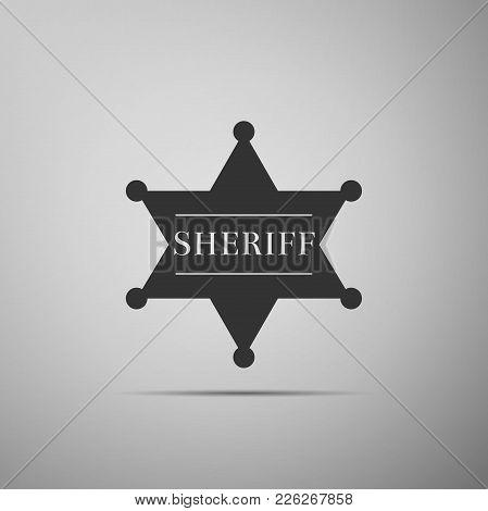 Hexagonal Sheriff Star Icon Isolated On Grey Background. Sheriff Badge Symbol. Flat Design. Vector I