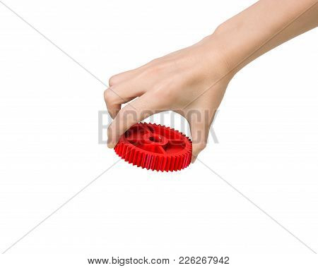 Hand Holding A Red Gear
