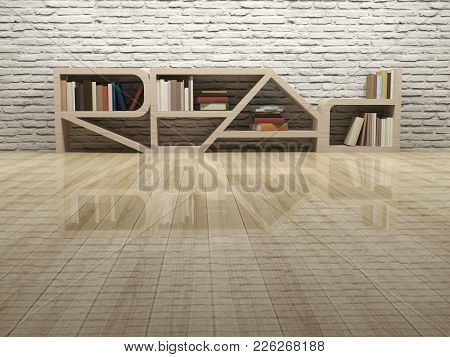 Read Word Shape Of Bookcase On Wooden Floor