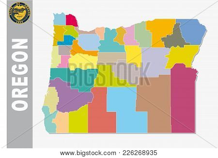 Colored Administrative And Political Vector Map Of Us Federal State Oregon With Seal
