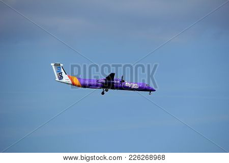 Amsterdam The Netherlands - August 27th 2017: G-prpk Flybe De Havilland Canada Dhc-8-400 Approaching