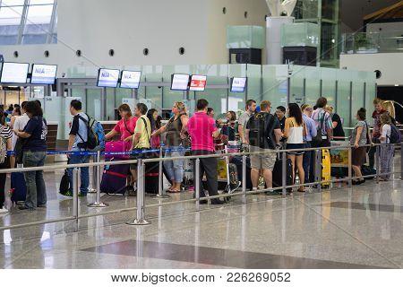 Hanoi, Vietnam - Apr 29, 2016: Queue Of Asia Passengers In Line At Boarding Gate At Noi Bai Internat