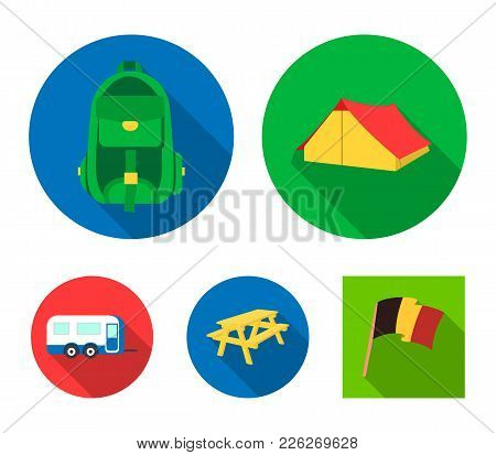 Tent, Backpack, Table With A Bench, Trailer.camping Set Collection Icons In Flat Style Vector Symbol