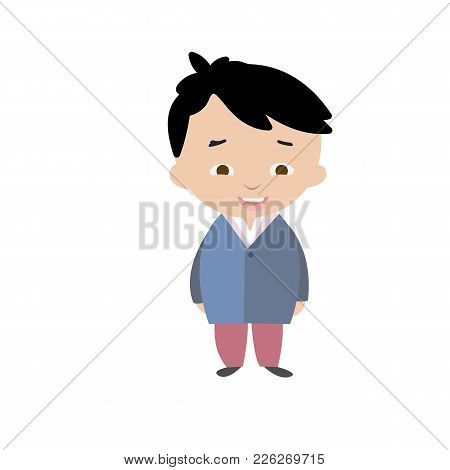 Boy In Korean Traditional Costume In Flat Style. Vector Illustration.
