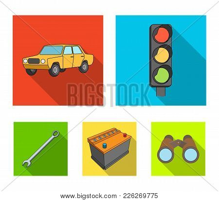 Traffic Light, Old Car, Battery, Wrench, Car Set Collection Icons In Flat Style Vector Symbol Stock
