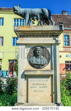 Sighisoara, Romania - July 4, 2016: Sculpture Of Capitoline Wolf On The Old Town Of Sighisoara