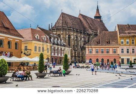 Brasov, Romania - July 5, 2016: So Called Black Church Seen From Main Square Of Brasov Old Town