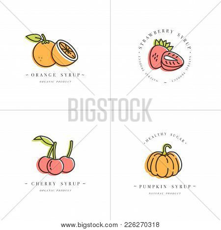 Vector Set Design Colorful Templates Logo And Emblems - Syrups And Toppings-orange, Cherry, Strawber
